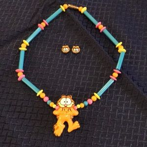 Vintage Garfield Cat Necklace and Earrings Set